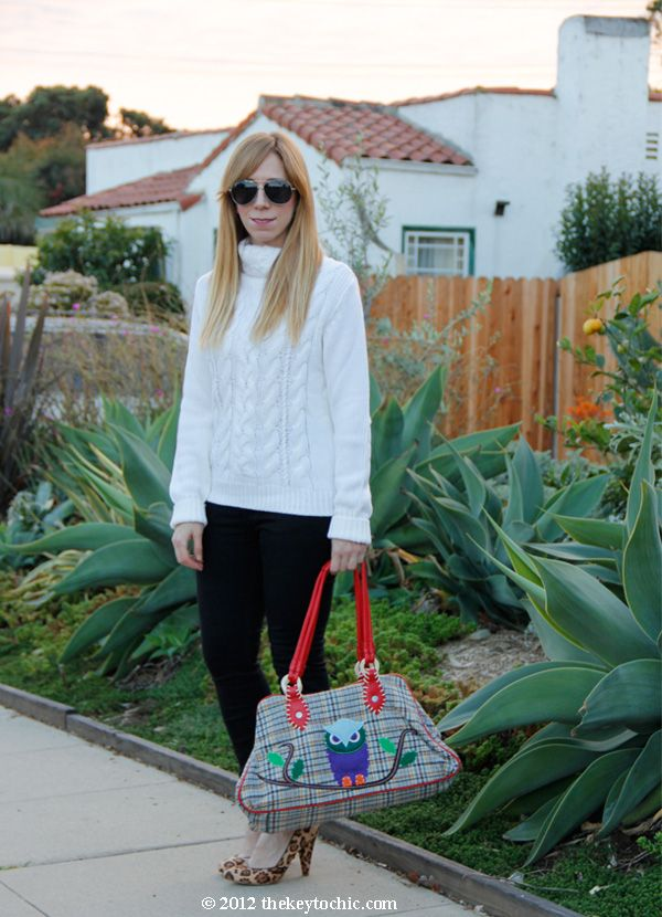 white cable knit turtleneck sweater, Cheap Monday skinny jeans, owl handbag, Steve Madden Poized leopard heels, Los Angeles fashion blog
