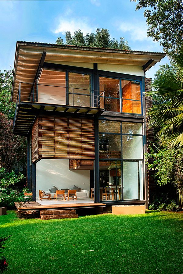 House Detail Private Garden in México Accommodating Four Wooden Houses