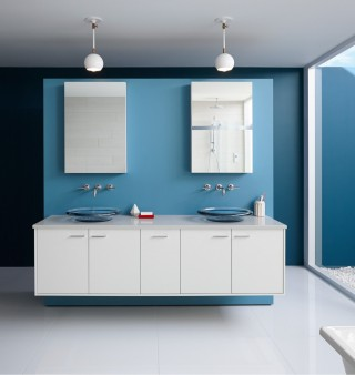 Jute vanity     Spun Glass sinks     Purist faucets     Verdera medicine cabinets     Cool blue helps take the edge off the desert heat, while glass sinks get extra sparkle from light streaming in via a courtyard.