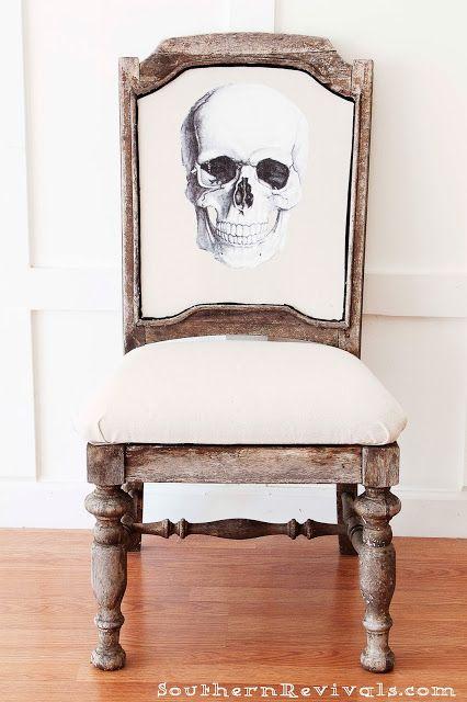 DIY Halloween Skull Skeleton Chair Makeover Redo Upcycle