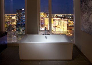 Loure bath filler   Underscore VibrAcoustic bath    Designed around a deep soaking sound-vibration bath and an absolutely killer view, the bathroom itself is an invitation to indulge.