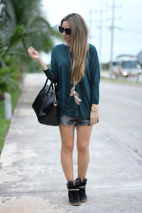 Green+top+Zara%252C+shorts+and+sneakers+