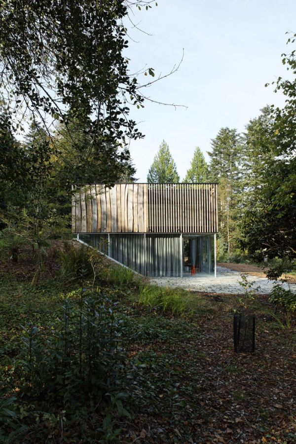 Side View Forest House House With Panoramic View Over The River in Brittany, France