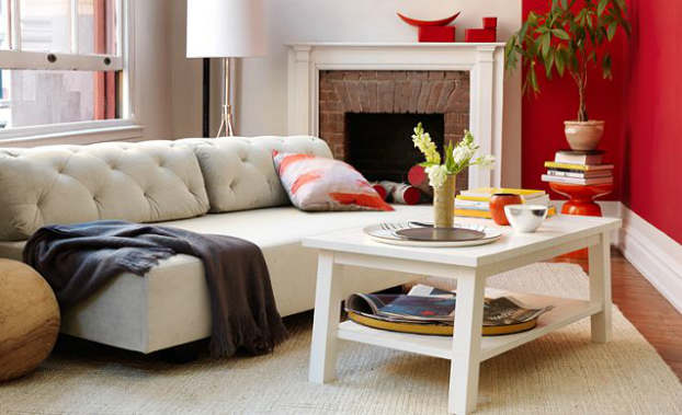 contemporary red and white living room idea 37