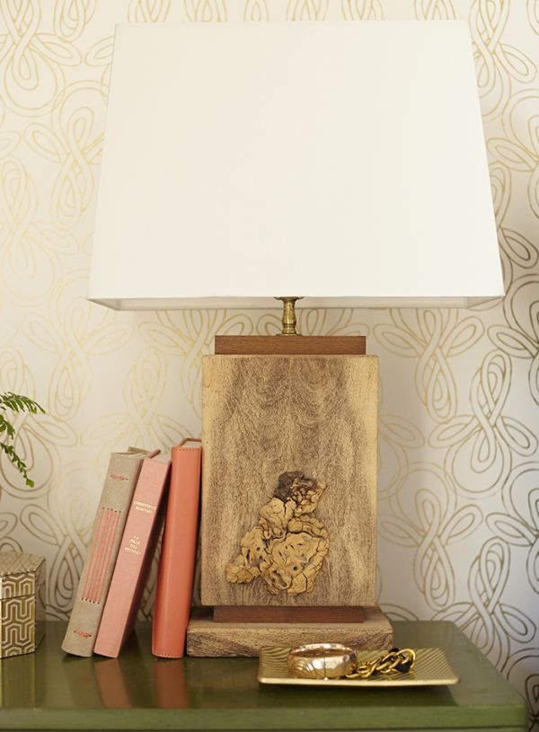 wood square lamp Before and After : Bedroom Makeover with Moss and Coral Accents