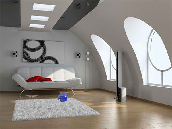 modern attic living room