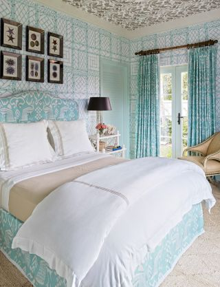Beach Bedroom by Miles Redd in Lyford Cay, Bahamas
