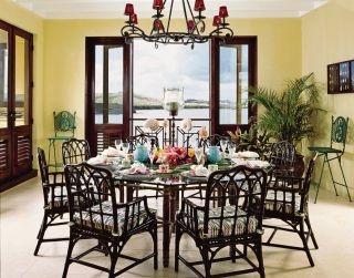 Beach Dining Room by Dorothy Draper & Company and Lanio and Associates Architects, Inc. in U.S Virgin Islands
