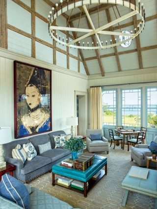 Contemporary Living Room by S.R. Gambrel Inc. and Robert A.M. Stern Architects in East Quogue, New York