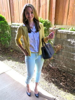 Style Remix: Mint Crops + Knit Blazer + Waterloo Blue Print Sleeveless Blouse